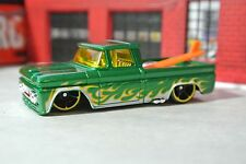 Hot Wheels '62 Chevy Pickup Truck w/ Surf Board - Green w/ Flames - Loose 1:64