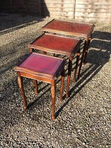 NEST-OF-TABLES-RED-LEATHER-GOLD-TRIM-OAK-ANTIQUE-STYLE