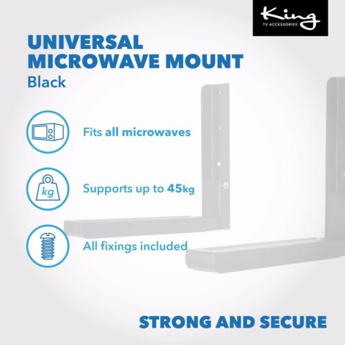 Universal Black Extendable Microwave Brackets Wall Mounting Max 45kg