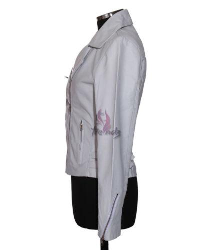 Jacket Biker Style Lambskin White Ladies Hillary Leather New Real Designer LSUzpMVGjq