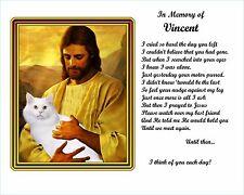 White Cat Memorial w/Jesus/Poem Personalized w/Cat's Name -Unique Pet-Loss Gift