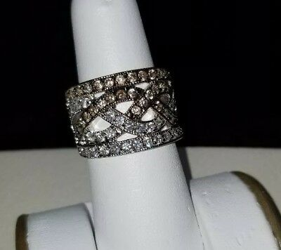 Signed 925 Sterling Silver Real Diamond Wide Crossover Braided Ring Size 7