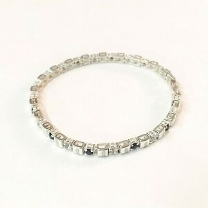 Vintage-NAPIER-Silver-Toned-Bracelet-with-Black-and-Clear-Rhinestone-Accents