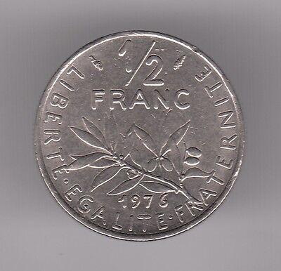 Humilde Francia 1976 1/2 Franco Moneda De Níquel-la Semilla Sembrador Tan Efectivamente Como Lo Hace Un Hada