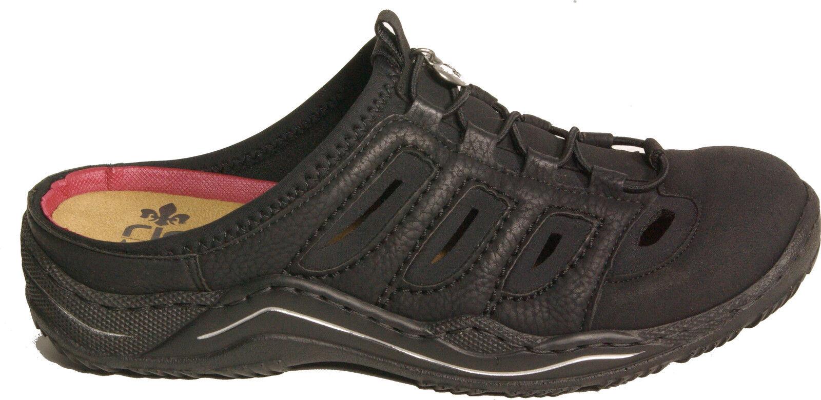 RIEKER Schuhe sportliche Pantoletten Clogs schwarz Gummizugverschluss NEU