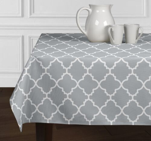 New Grey White Modern Trellis Dining Room Kitchen Rectangle Square Tablecloths