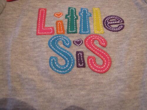 "Baby Girls /""Little Sis/""  12M 12 month long sleeve Bodysuit gray Carter/'s NWT^^"