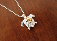 Hawaiian 925 Sterling Silver Jewelry MOMMY & BABY HONU TURTLES Necklace SP21805