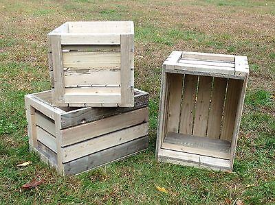 Rustic Primitive Reclaimed Weathered Pine Wood Crates Shelf Display