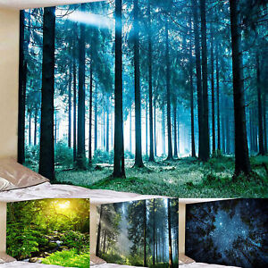 Forest-Landscape-Scenery-Tapestry-Wall-Hanging-Bedspread-Home-Decor-Throw-Mat4
