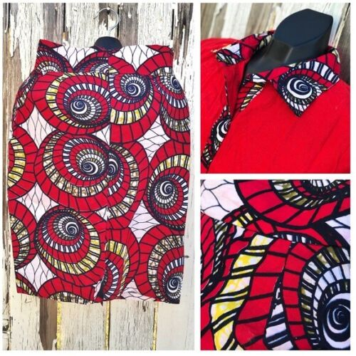 African Wax Print Vibrant Red Women Skirt Set