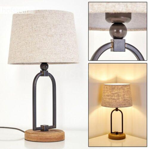 Stoff beige Nacht Tisch Lampen Lese Leuchten Holz Wohn Schlaf Zimmer Beleuchtung
