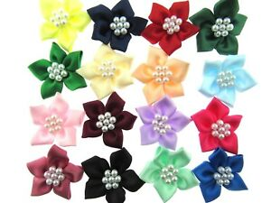 40mm-Poinsettia-Satin-Ribbon-Bows-with-Pearl-Cluster-17-Colours-Available