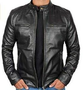 de917bf4a7f Image is loading Genuine-Black-Leather-Jacket-Men-Lambskin-Motorcycle-Mens-