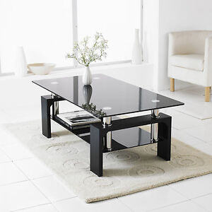 Black Modern Rectangle Glass & Chrome Living Room Coffee Table With ...