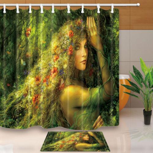 "Mermaid With Long Flower Hair in Rainforest Bathroom Fabric Shower Curtain 71/"""