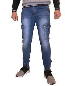 Jeans-Pantalone-Uomo-slim-tasche-molle-caviglie-zip-elasticizzato-slim-fit-5708