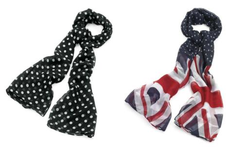 SCARF PASHMINA SHAWL GREAT BRITAIN UNION JACK OR SPOTS