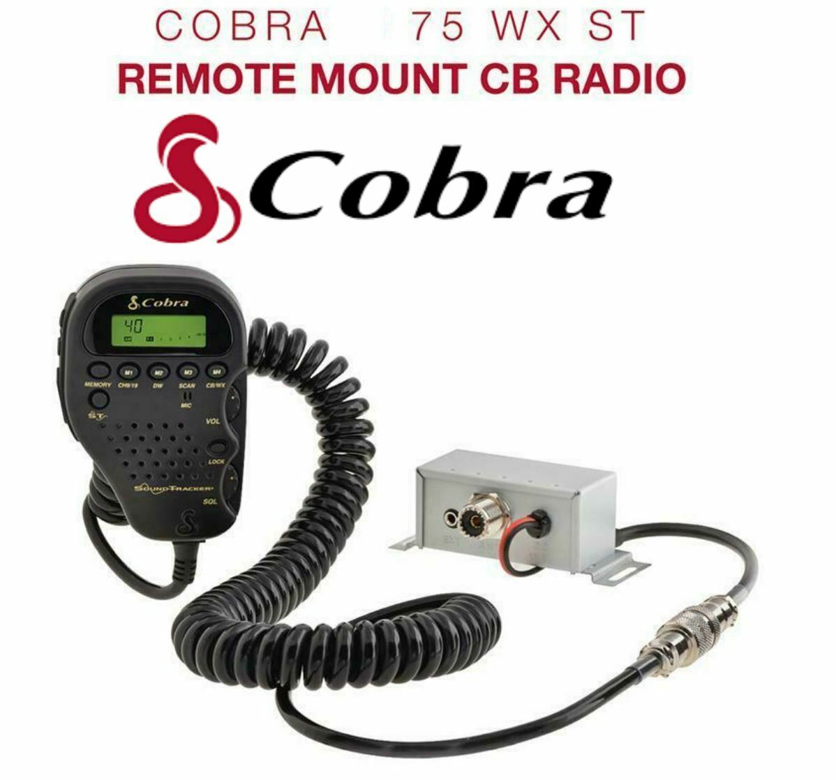 75WXST titantime COBRA 75WXST COMPACT REMOTE MOUNT 40 CHANNEL CB RADIO w/ WEATHER & SOUND TRACKER