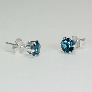 Natural-London-Blue-Topaz-Stud-Earrings-Sterling-Silver-925-Round-Shaped