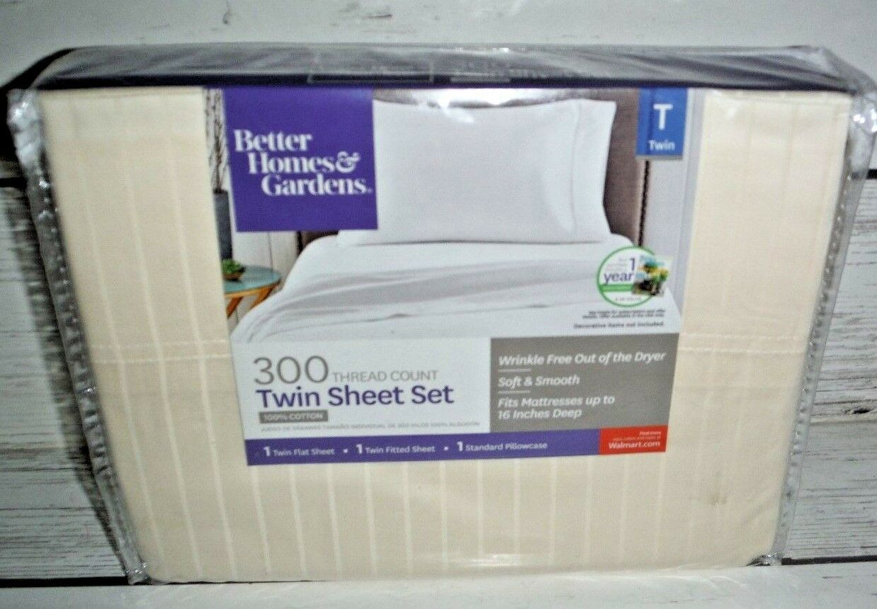 Better Homes and Gardens 300 Thread Count Fresh Ivory Twin Sheet Set