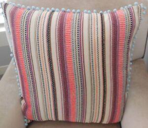 Details about New MEXICAN FIESTA LIGHT Cushion covers & AQUA Pom Pom trim  60cm X LARGE /EURO