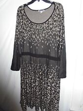CLEARANCE New Dress Barn $60 Leaf Fit & Flare Skater Sweater Dress Black Plus 2X