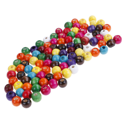 100x wooden beads round ball spacer beads kid/'s DIY for jewelry making 9*10mm MC