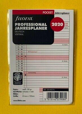 filofax Kalender Einlage Pocket 2020 Jahresplaner vertikal 81 x 120 mm  68245