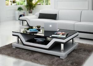 Dettagli su Designer Tavolino da Salotto Imbottitura Tavolo pelle Vetro  Moderno Glastische #