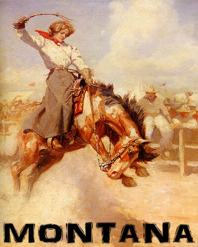 POSTER MONTANA RODEO BRONC RIDING HORSE COWGIRL WEST USA VINTAGE REPRO FREE S//H