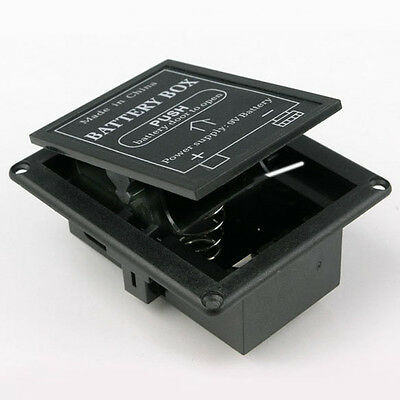 Black 9 volt battery box compartment flat mounted BT1, 2, 3, 4, 5, 6, 7, 8