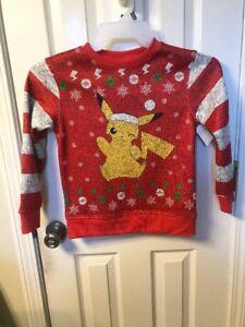Pokemon Christmas Sweater.Details About New Pokemon Pikachu Holiday Christmas Sweater Sweatshirt Boys Size Medium 8