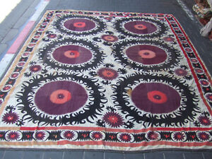 ANTIQUE UZBEK SILK HAND MADE- EMBROIDERED SUZANI 280x235-cm / 110.2x92.5-inches