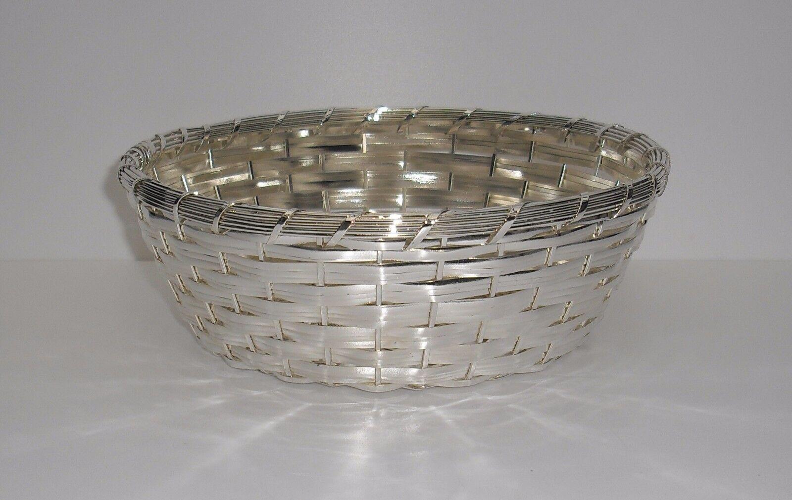 Brotkorb - rund - 19 cm breit - versilbert - NEU | Modern Und Elegant