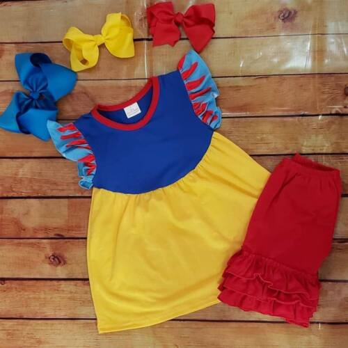 girls toddler boutique ruffle shorts with snow white tunic outfit set
