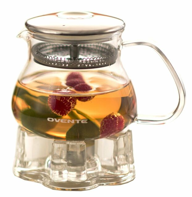 Ovente FGA44T 44oz Heat Tempered Glass Teapot with Tea Infuser and Glass Teapot