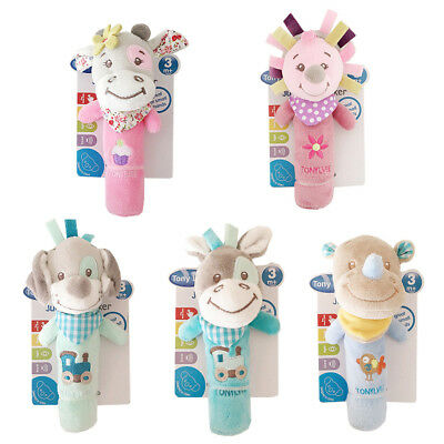 18cmX12cm Animal Hand Bell Musical Baby Soft Toy Developmental Rattle Bed Toys