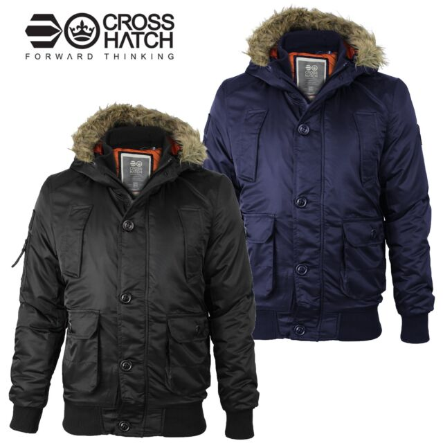 cae51bb54 Mens Crosshatch MA1 Bomber Faux Fur Hood Diamon Quilted Lined Jacket Parka  Coat