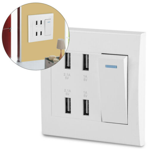 4 USB Charger Port  Wall Plug Socket Outlets Plate With Switch Control