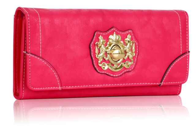 Ladies Faux Leather Wallet/Purse Crystals/Diamante or Gold Colour Twist Lock