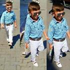 3Pcs Baby Boys Long Sleeve T-shirt +Pants+Belt Set Kids Casual Clothes Outfits