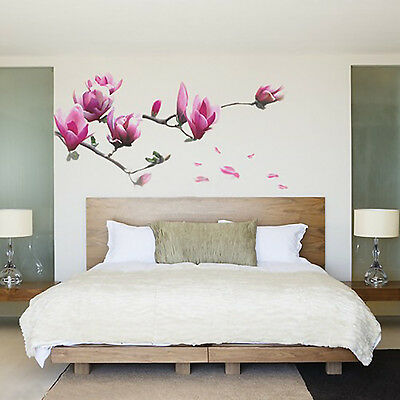Pretty Magnolia Flower Floral Home Decor Wall Sticker Wall Decal Living Room DIY
