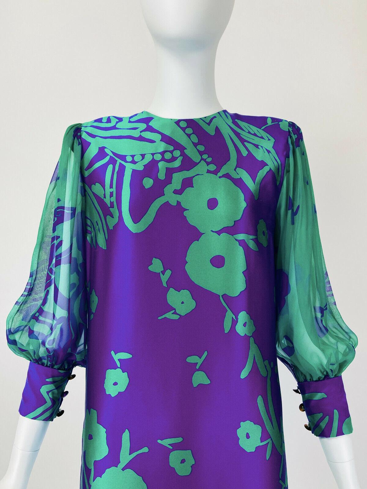 Designer Vintage 80s Silk Dress PAULINE TRIGERE S… - image 3
