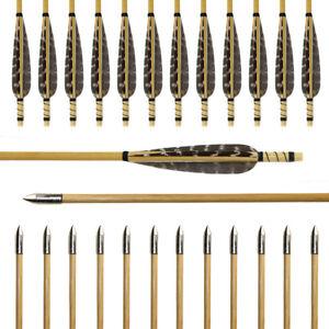 12pcs-Wood-Arrows-True-Turkey-Feather-Practice-Field-Points-Recurve-Bow-Longbow