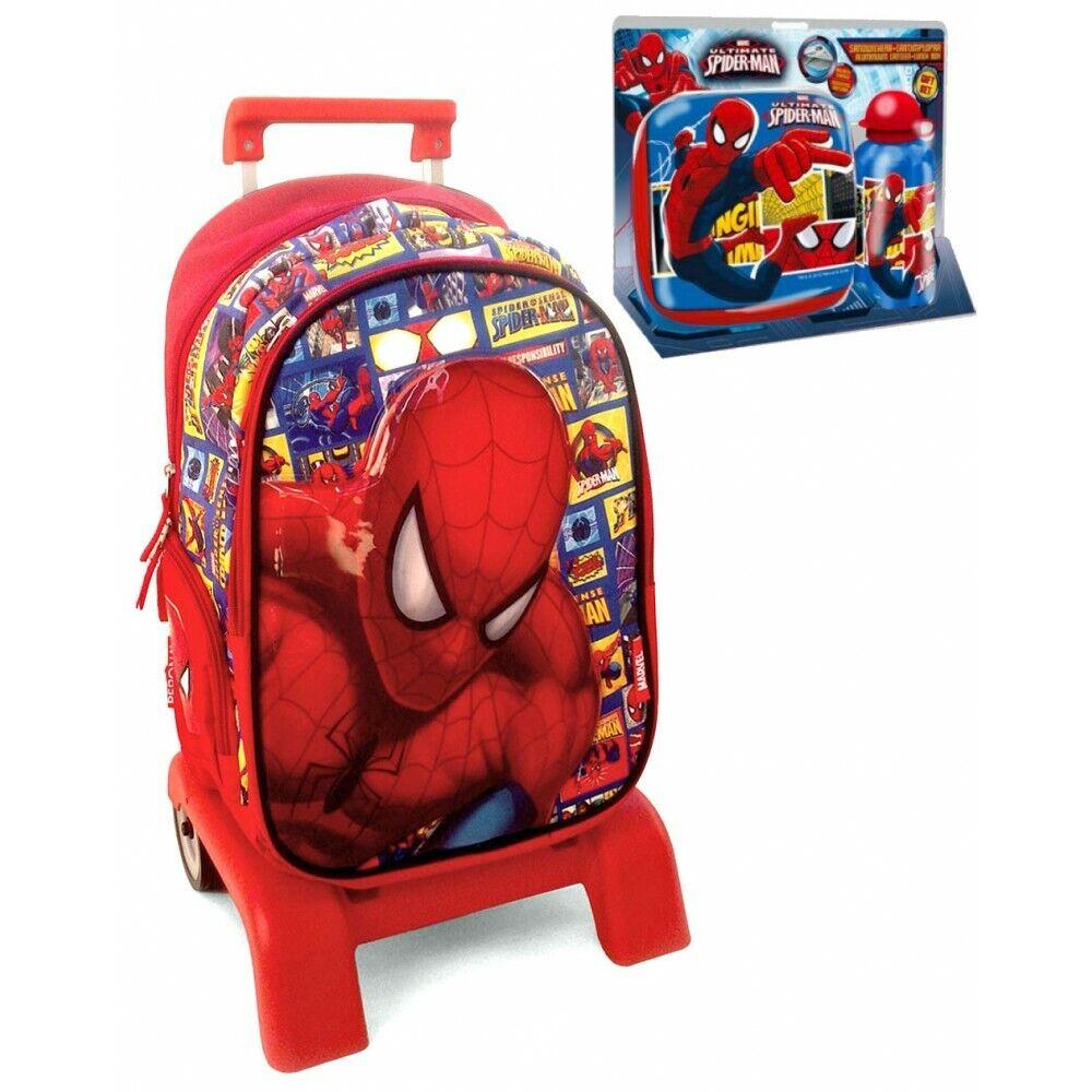 Mochila Carro Spiderman Trolley Marvel 42cm con Set Merienda