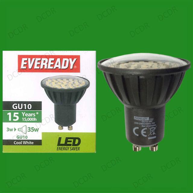 4x 3W Eveready LED 6500K Daylight White GU10 Instant On Spot Light Bulbs Lamps