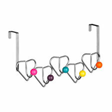Chrome sobre Colgador Para Puerta 5 Gancho Color Multi bolas de plástico Detalle De Corazón