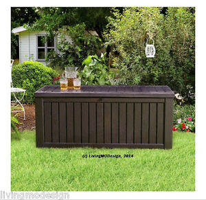 Image Is Loading Keter Rockwood 150 Gallon Patio Storage Bench Weatherproof