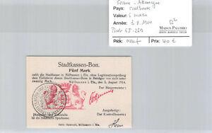 France - Germany (Mulhouse) 5 Marks 3.8.1914 Pirot 68.269 New